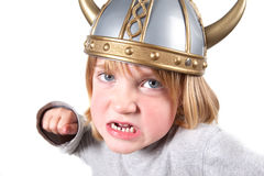 Viking child helmet isolated Stock Images