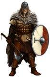 Viking com machado e protetor no branco ilustração royalty free