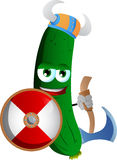 Viking cucumber or pickle with axe Stock Images