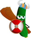 Viking cucumber or pickle with a club and shield Royalty Free Stock Image