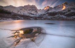 Frozen Lake under the mountains Royalty Free Stock Photo