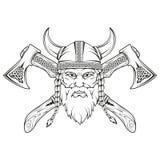viking Dé exhausto de un vikingo en un casco con el ornamento Bosquejo de la cabeza de vikingo con las armas tradicionales stock de ilustración