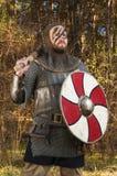 Viking, das Klinge und Schild über wildem Naturhintergrund hält Lizenzfreie Stockfotos