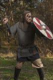 Viking, das Klinge und Schild auf dem wilden Naturhintergrund hält Stockfotos