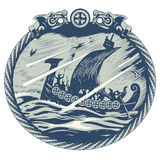 Viking design. Drakkar sailing in a stormy sea. In the frame of the Scandinavian pattern. Isolated on white,  illustration Stock Image