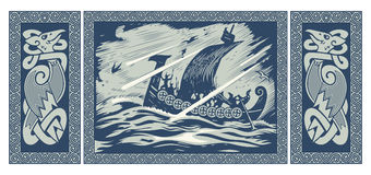 Viking design. Drakkar sailing in a stormy sea. In the frame of the Scandinavian pattern. Isolated on white,  illustration Royalty Free Stock Images