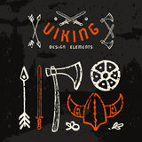 Viking design elements in hand-drawn style. Color print on dark texture background Royalty Free Stock Photography