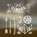 Viking design elements in hand-drawn style. White print on blurred background Royalty Free Stock Image