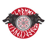 Viking-Design Magischer Runen- Kompass Vegvisir, im Kreis von Skandinavierrunen und von Wölfen von Odin - von Geri und von Freki lizenzfreie abbildung