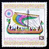Viking die schip IX varen eeuw Royalty-vrije Stock Foto