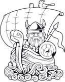Viking drôle flottant sur livre de coloriage de bateau illustration de vecteur