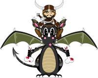 Viking and Dragon. Vector Illustration of a Cute Cartoon Fierce Viking Warrior Riding a Dragon Character Royalty Free Stock Photography