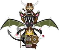 Viking and Dragon. Vector Illustration of a Cute Cartoon Fierce Viking Warrior Riding a Dragon Character Royalty Free Stock Photo