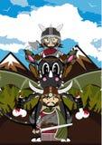 Viking and Dragon. Vector Illustration of a Cute Cartoon Fierce Viking Warrior Riding a Dragon Character Royalty Free Stock Images