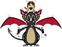 Viking and Dragon. Vector Illustration of a Cute Cartoon Fierce Viking Warrior Riding a Dragon Character Stock Photo