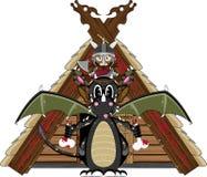 Viking and Dragon. Vector Illustration of a Cute Cartoon Fierce Viking Warrior Riding a Dragon Character Stock Image