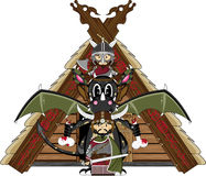 Viking and Dragon. Vector Illustration of a Cute Cartoon Fierce Viking Warrior Riding a Dragon Character Stock Photography