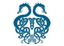 Viking Dragons combinado ilustración del vector