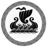 Viking Drakkar. Drakkar ship sailing on the stormy sea Royalty Free Stock Image