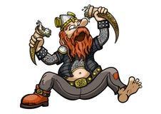 Viking Drinks dos chifres bebendo ilustração stock