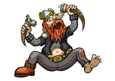 Viking Drinks from the Drinking Horns Royalty Free Stock Photo