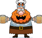 Viking Drunk. A happy cartoon viking drunk with two mugs of beer Royalty Free Stock Images