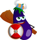 Viking eggplant with a club and shield Stock Image