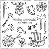 Viking elements. Hand drawn doodle set. Sketches. Vector illustration for design and packages product. Viking elements Hand drawn doodle set. Vector Stock Photos