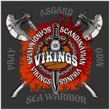 Viking emblem and logos plus isolated elements  Stock Image