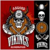 Viking emblem and logos plus isolated elements  Royalty Free Stock Images