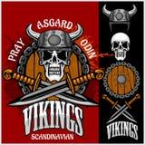 Viking emblem and logos plus isolated elements  Royalty Free Stock Photography