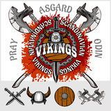 Viking emblem and logos plus isolated elements Royalty Free Stock Photo