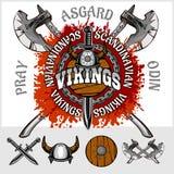 Viking emblem and logos plus isolated elements Royalty Free Stock Photo