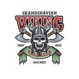Viking emblemat na białym tle ilustracja wektor