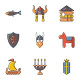 Viking equipment icons set, cartoon style. Viking equipment icons set. Cartoon set of 9 viking equipment vector icons for web isolated on white background Stock Photo