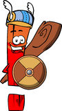 Viking exclamation mark with a club and shield Stock Photos