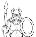 Viking Female Gladiator Warrior Woman Team Mascot illustrazione vettoriale