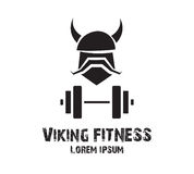 Viking Fitness Logo Design Fotografie Stock Libere da Diritti