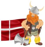 Viking with flag and ax. Happy viking with Denmark flag and ax on his hand Stock Photo