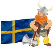 Viking and flag. Happy viking with ax and Switzerland flag Royalty Free Stock Images