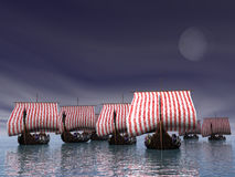 Viking Fleet. Viking ships in port Stock Photography