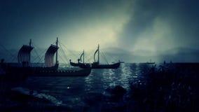 Viking Fleet Sailing som ska stöttas med deras barkasser stock illustrationer