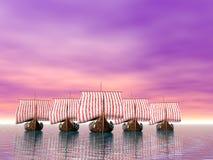 Viking Fleet of Ships Stock Photo