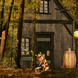Viking in the forest. 3d rendering one of Vikings inhabited house in Wald as illustration Royalty Free Stock Images
