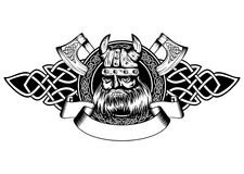 Viking in frame. Vector illustration old viking in helmet with horns and celtic patterns Royalty Free Stock Image