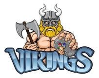 Viking Gamer Gladiator Warrior Controller-Maskottchen vektor abbildung