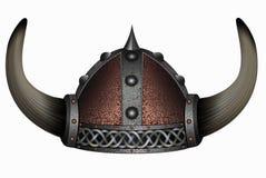 Viking in gehörntem Sturzhelm Maskenmann lizenzfreie abbildung