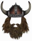 Viking in gehörntem Sturzhelm Maskenperücke Mannhaar mit Bart stock abbildung