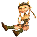 Viking girl. 3d rendering a Vikings  girl in sitting pose as illustration Royalty Free Stock Photo