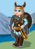 Viking girl. On a background of mountains and sea Royalty Free Stock Image